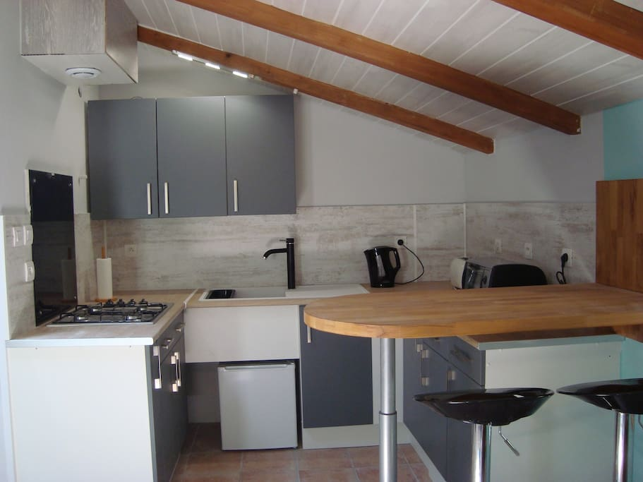 Open plan kitchen with sink, gas hob, small electric oven and fridge.