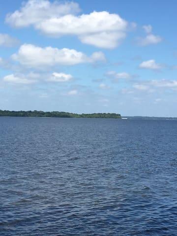 Open view of water from boathouse. Over 14 miles of open water and un-developed land across the cove.