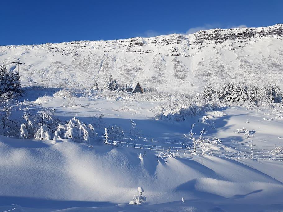 Jónsstaðir as seen from the road in winter