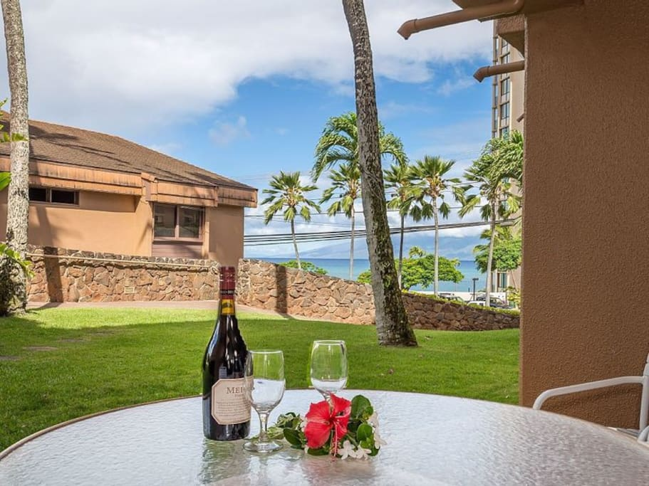Lanai with a partial view of the beach!
