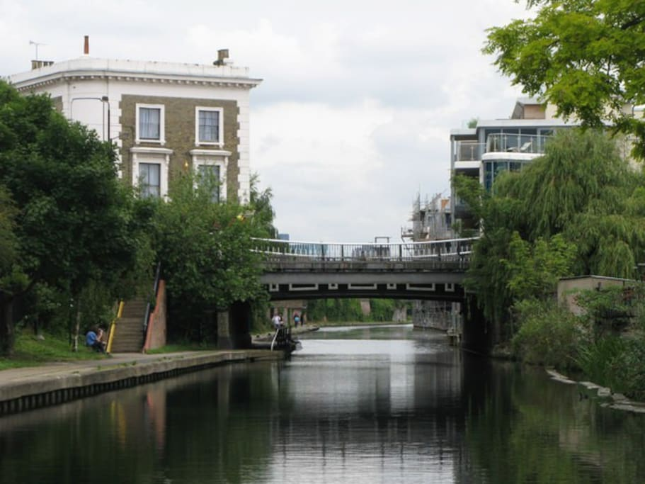 Regents canal, accessible at the end of the road.