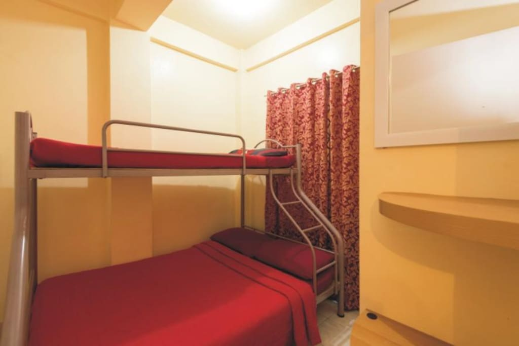 Double bed with bunk over