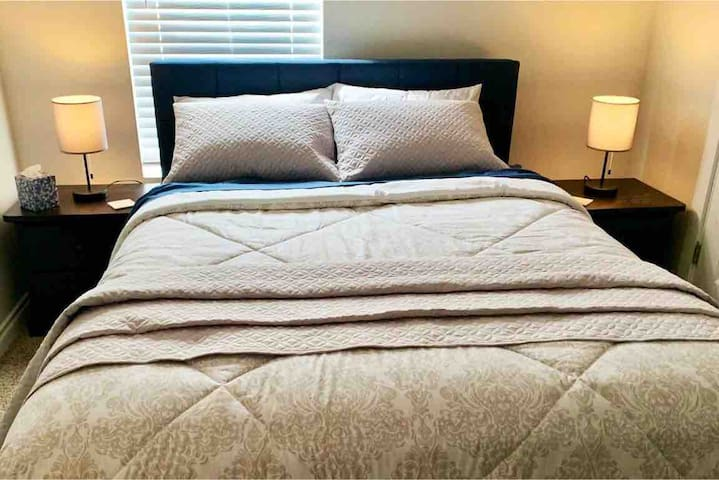 Cozy Queen Size Bed in Bedroom #1 Plus an Adult Size Portable Cot.