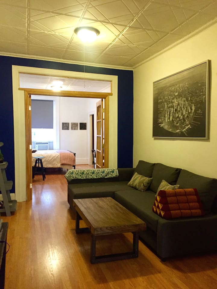 couch pulls out into full size bed, flat screen TV mounted on wall