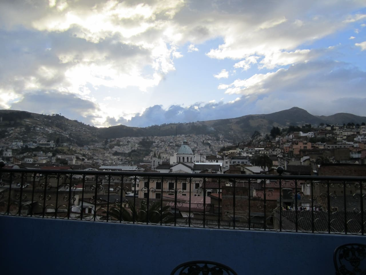 Sunset over Colonial Quito and Mount Pichincha