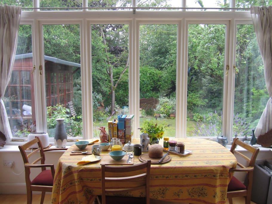 Breakfast table overlooking the garden