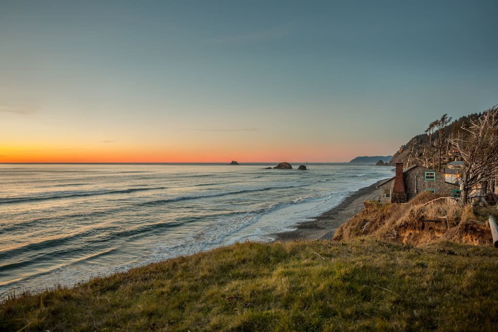 Falcon Cove Beach is one of the most hidden spots on Oregon's entire coast. On a clear day, relax and enjoy the view of the sun dipping into the water from your porch swing.