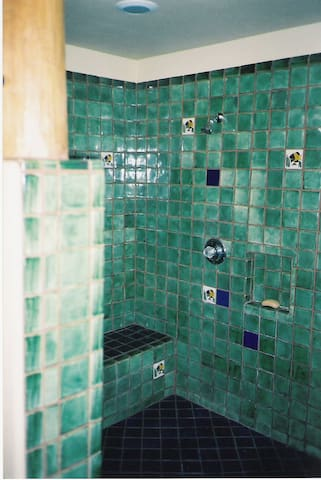 LARGE SHOWER WITH SITTING BENCH