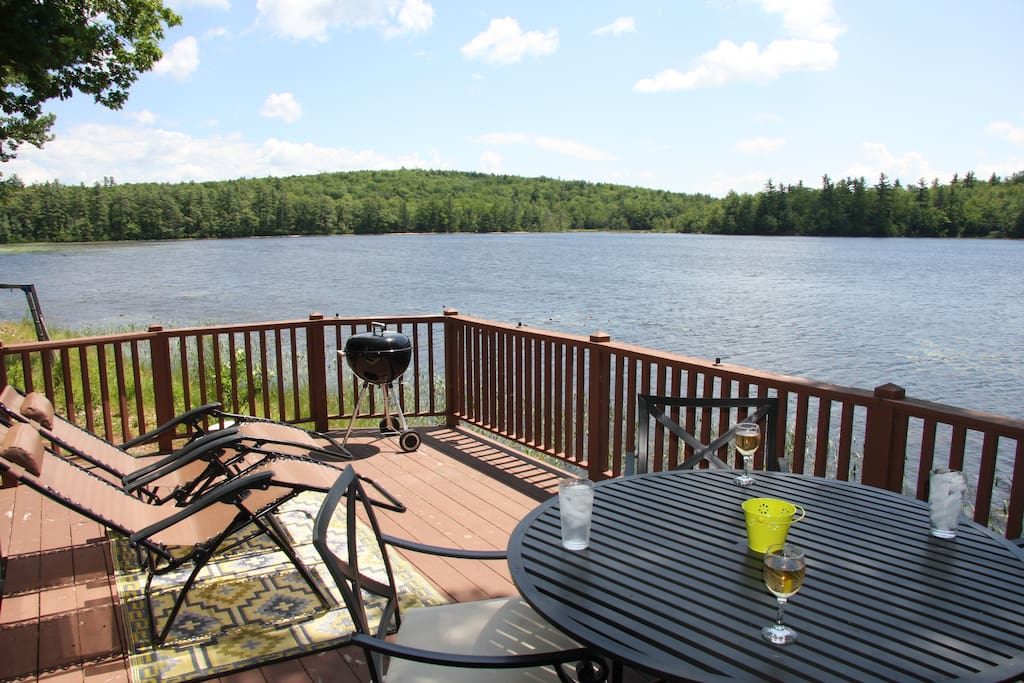 View from deck overlooking Sargents Pond. Larger grill for 2016!