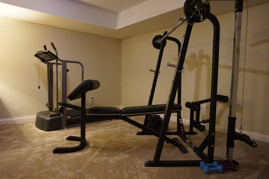 Gym equipment is located right outside of the basement suite.  Our guests are more than welcome to continue their fitness regime while away from home.