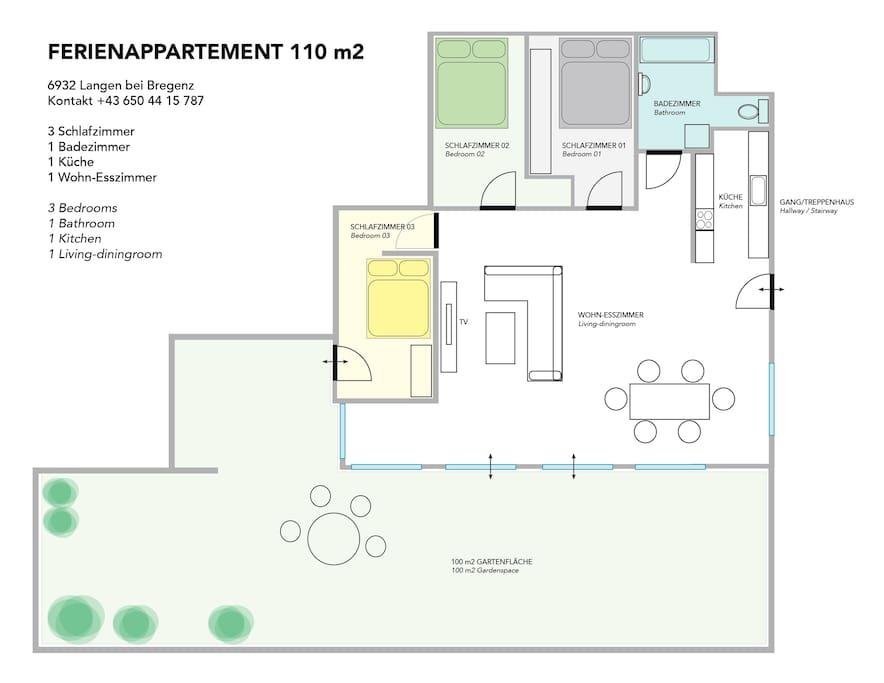 Grundriss der Wohnung mit allen Zimmern