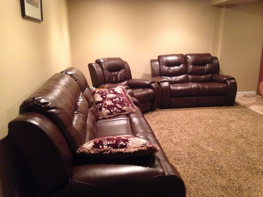 Reclining sofa's. Room for a blow up mattress for kids if needed.