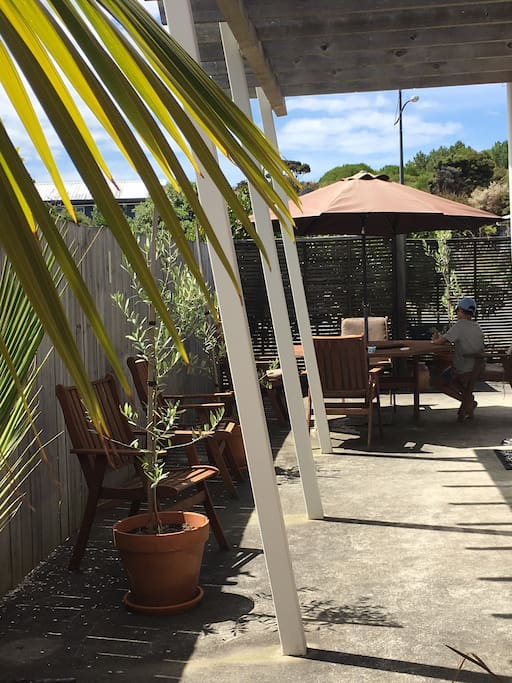 Sunny outdoor courtyard
