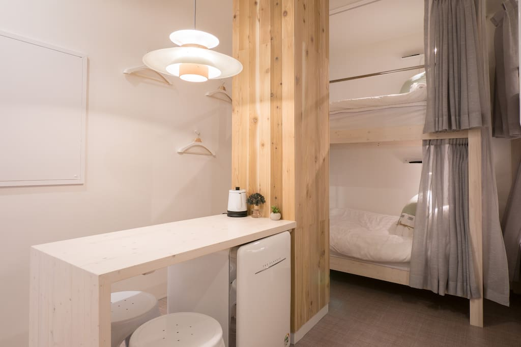 6 persons dormitory room has 3 bunk beds, each bed has own TV