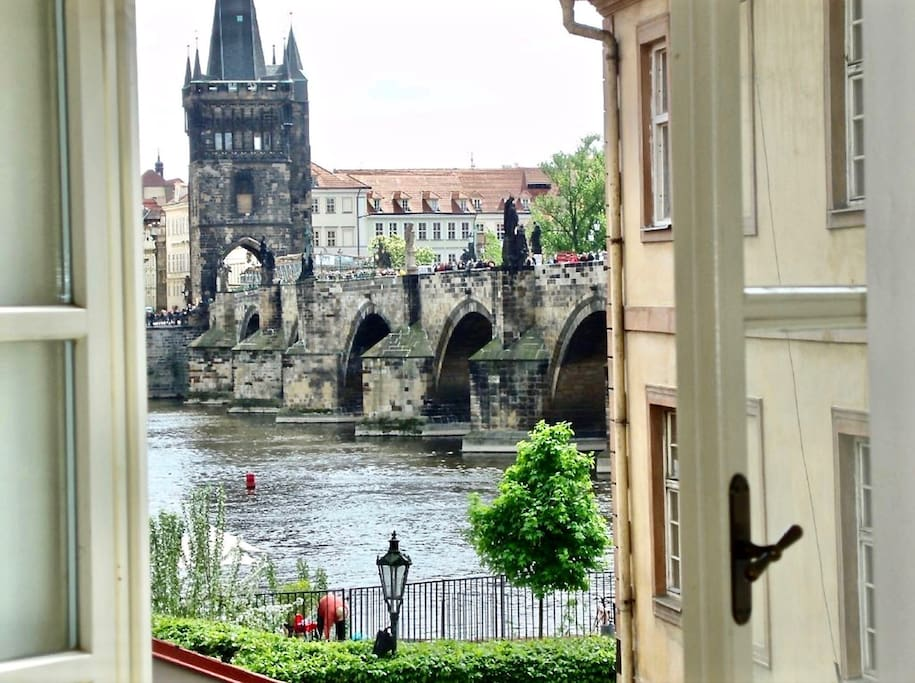 Wake up each morning to this breathtaking view of the Charles Bridge and Vltava river. A fairly tale setting difficult to forget. Also very quiet at night.