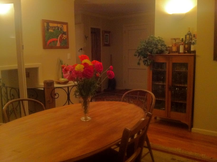 Dining room with fresh flowers from the garden