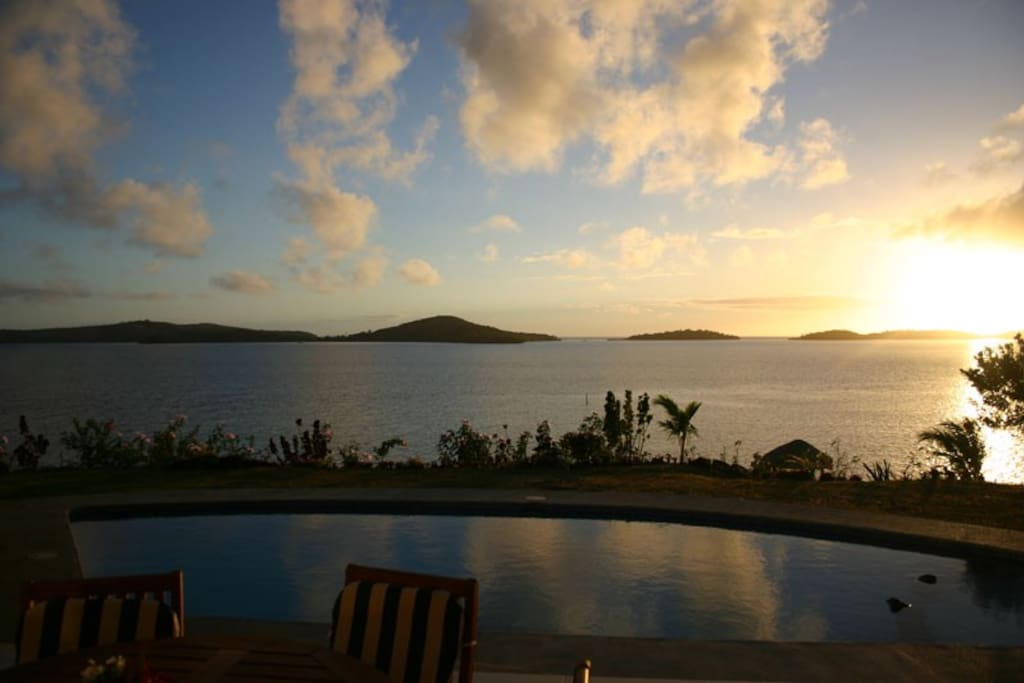 View from the deck of the villa at sunset