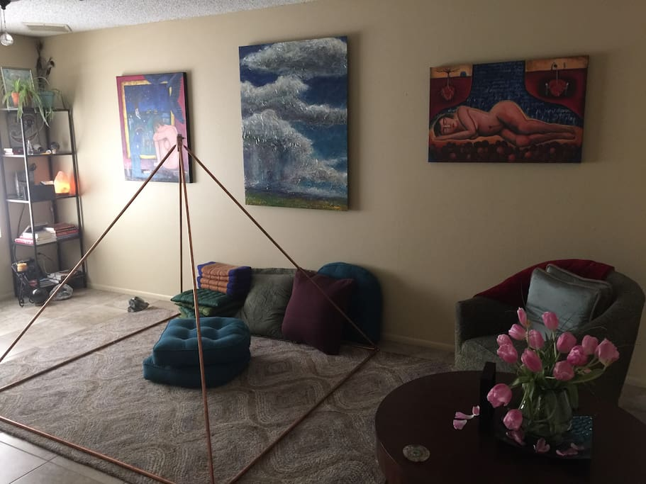 Coper pyramid in the living room, for meditation, or just plain hanging out.