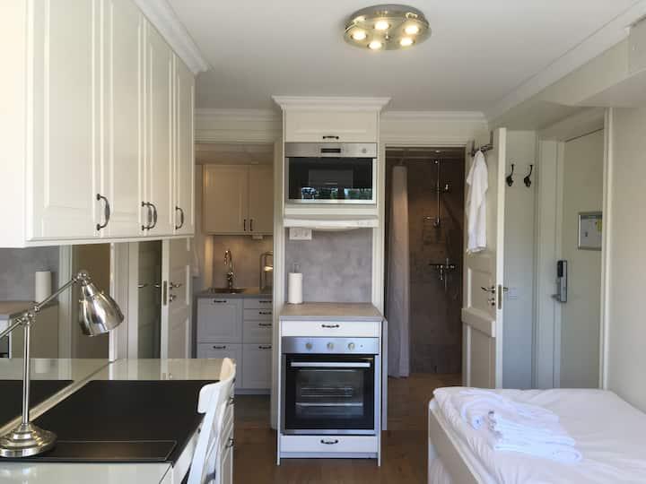 Lägenhet med egen entré och uteplats i Gula Villan