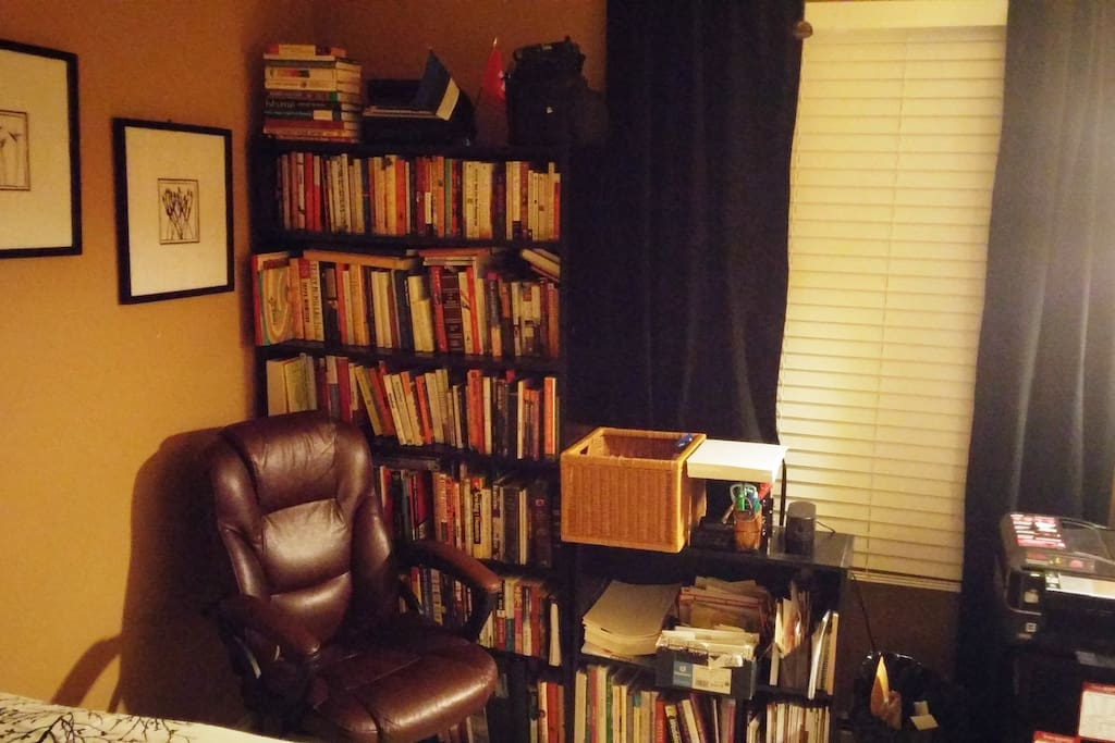 Skim through a book, chill under the ceiling fan (house has central a/c too). Natural light.