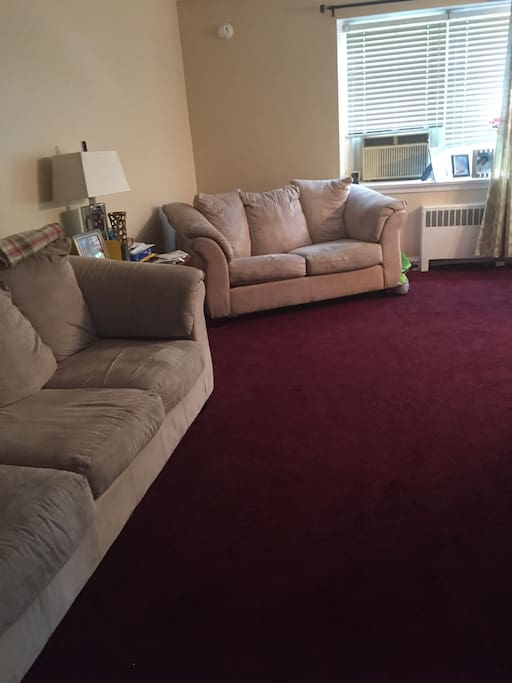 Living room area (entire apartment is carpeted)