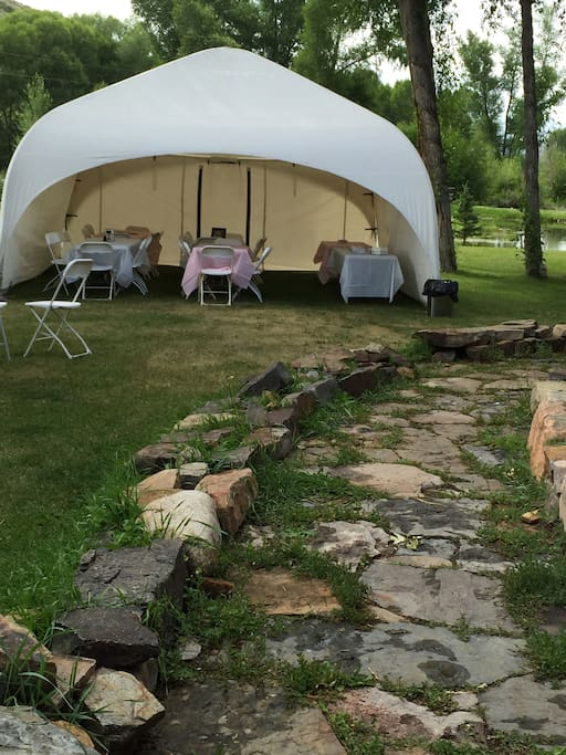 Tent set up for wedding July 2015