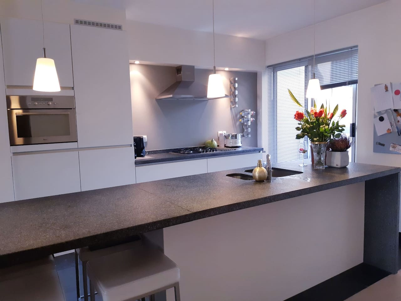 Fully equipped kitchen: steam cook, oven, micro-wave, stove, fridge, pots & pans, ....