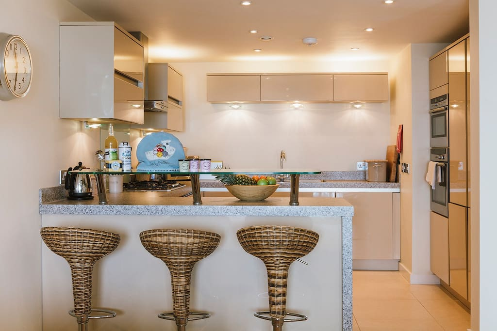 Open plan kitchen with all the utensils you need