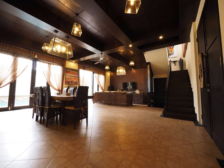 Living & Dining area is spacious and fully furnished with pool access