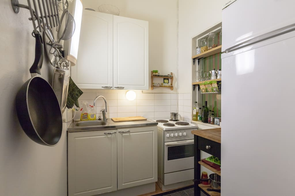 This is the kitchen. You may share it with us.
