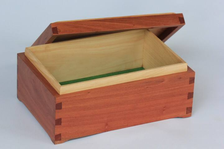 One of Lester's lovely timber boxes that he loves to make. You will be most welcome to see the 'man's shed'.