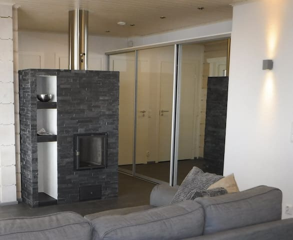 DeLuxe Villa Nightingale fireplace and mirror closets