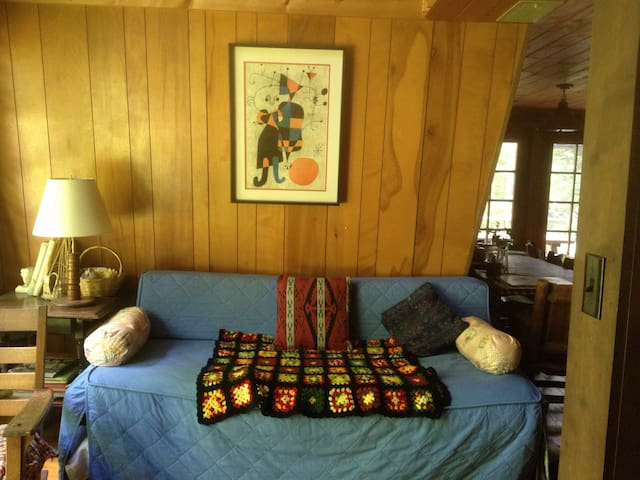 Living room trundle bed opens up for one or two sleepy people.