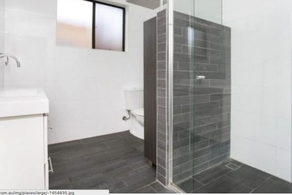 Brand new bathroom, massive shower