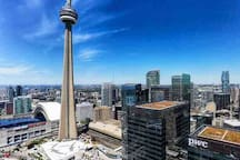 CN Tower , Reply's Aquarium, Rogers Center , Scotia Bank Arena and Harbour Center are within 3 mins walk