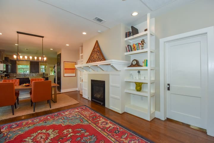 Artfully decorated, this home is a cozy respite from the bustle of city life.