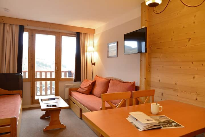 Studio cabine on slopes 4 people of 23 m²