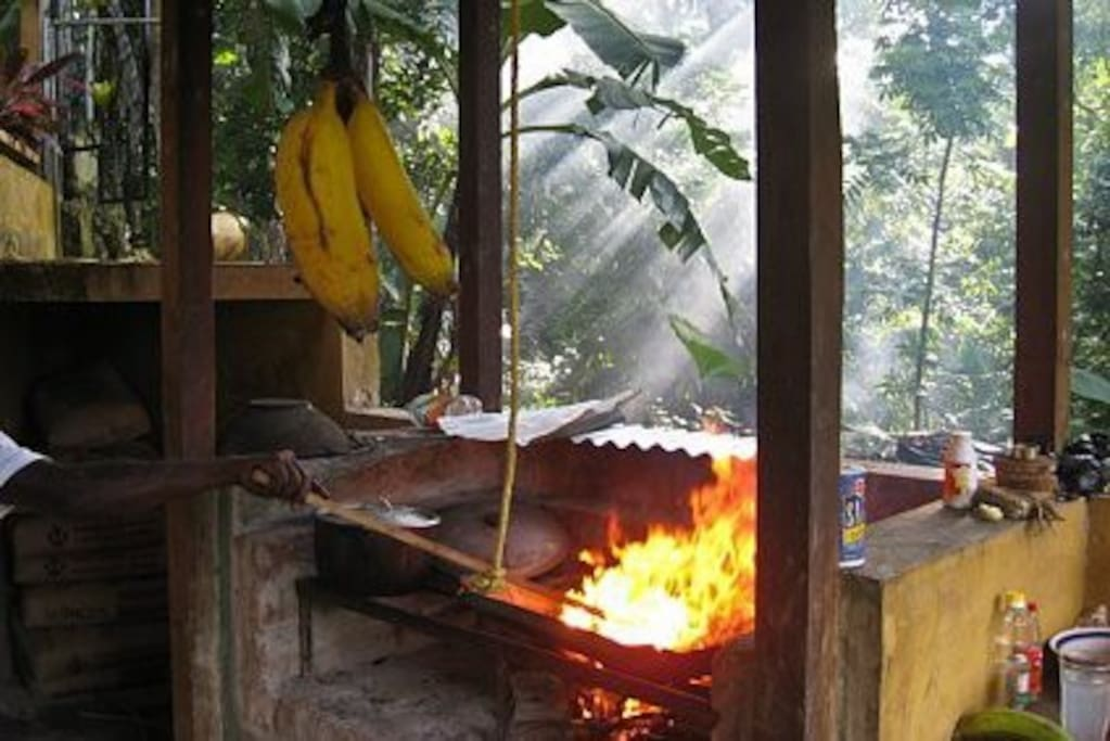 We encorporate real Wood fire cooking-