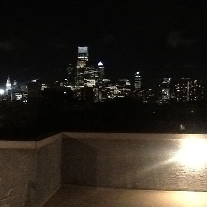 Night-time view from the roof deck