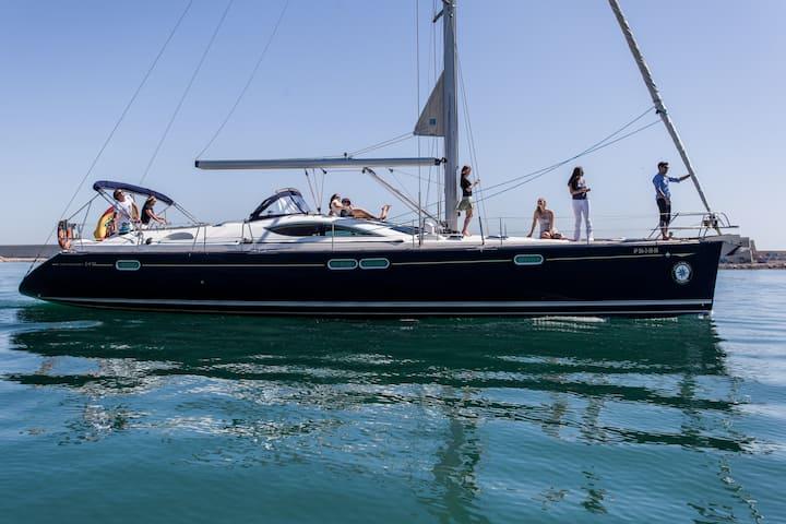 Luxurious sail yacht in Barcelona