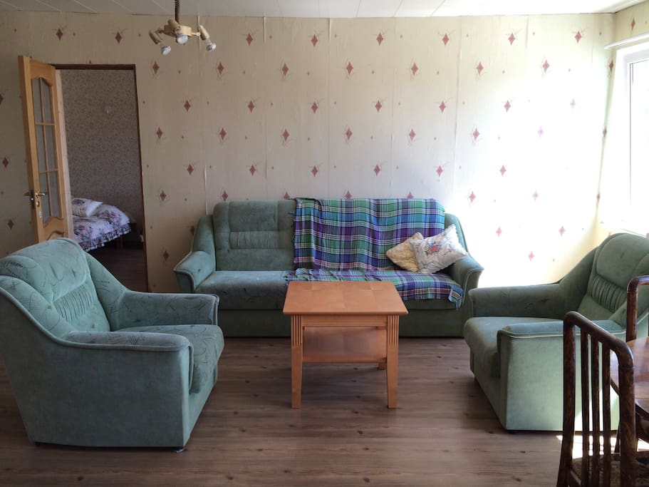 Livingroom, big, warm and full of light, is situated in the middle of the apartment. Sofa-bed offers a sleeping place for 1-2 persons.