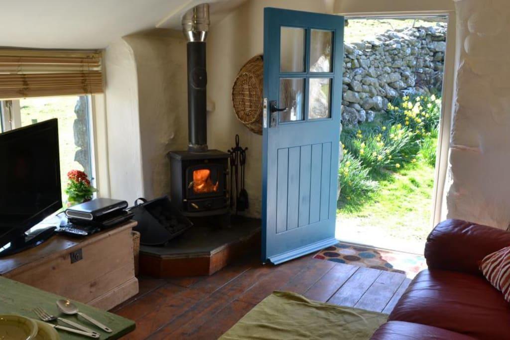 Lounge area has Log burner and Sky HD TV