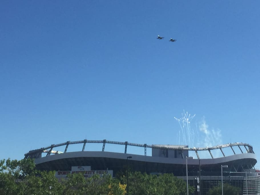 Across the Street View During Broncos Flyover