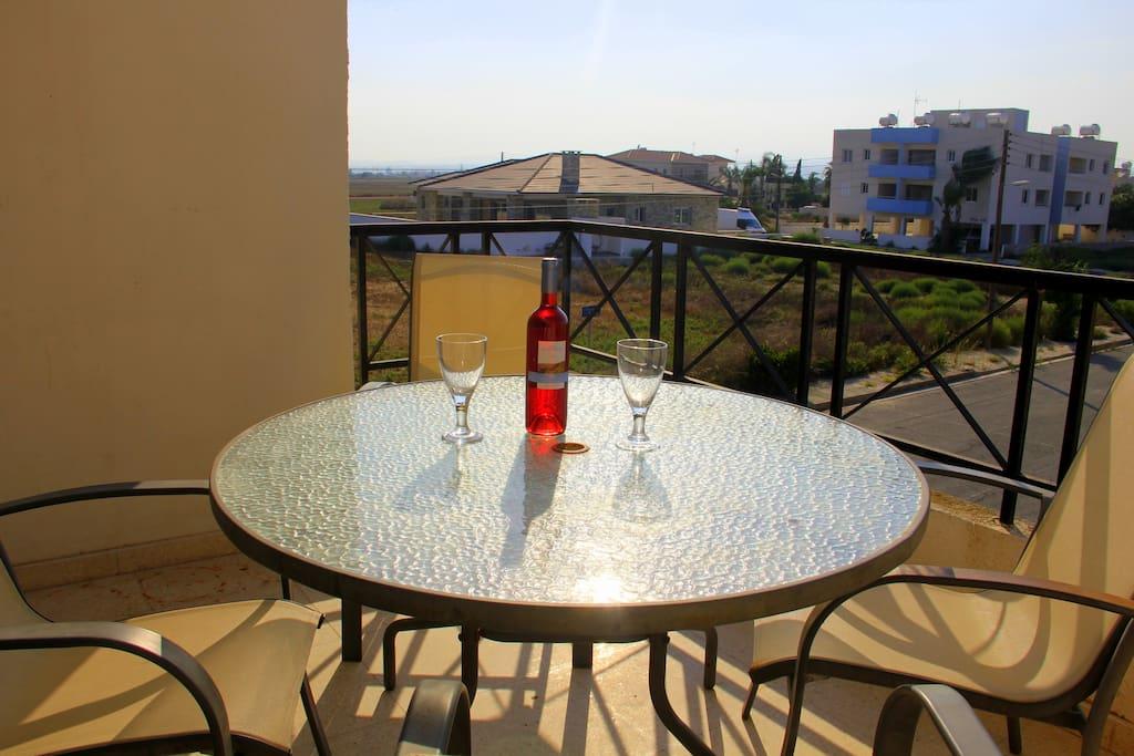 Enjoy sundowners on the balcony