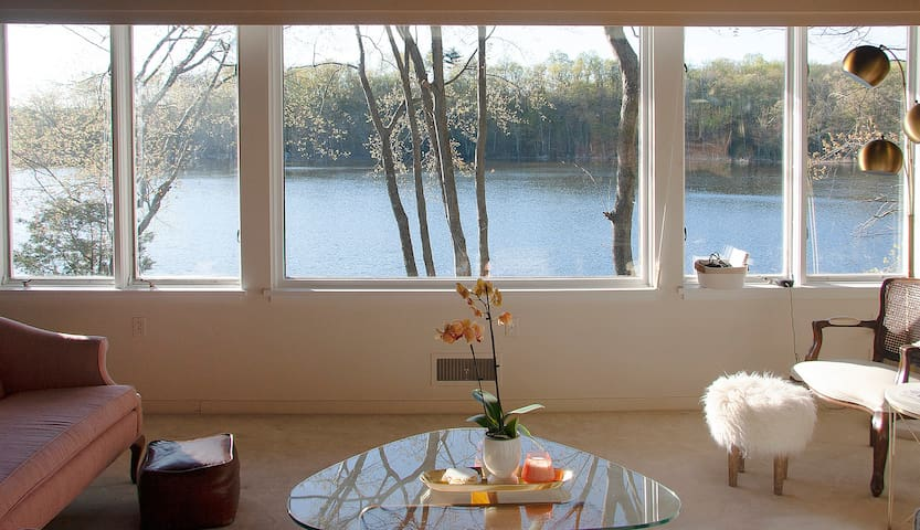 Secluded Lakefront Mid-Century 3br 60 mi from NYC