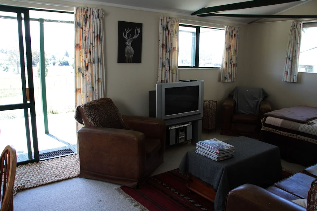 Living area - double bed is in the corner to the right.