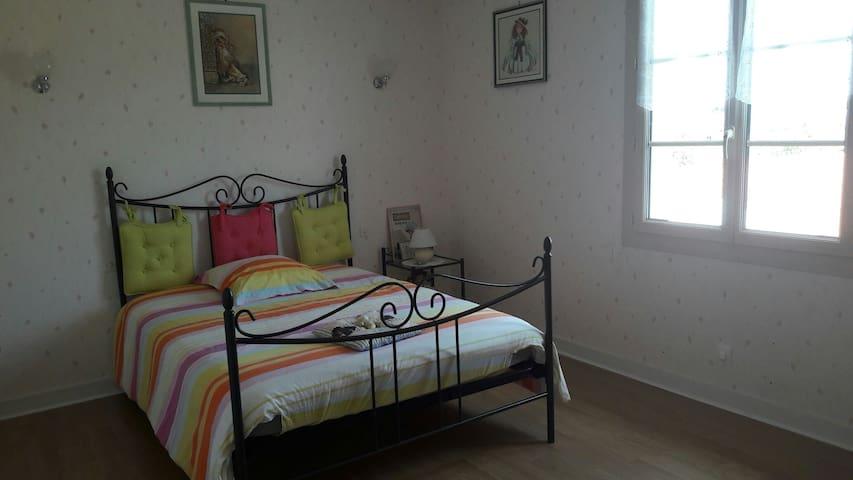 Chambre avec lit et salle de bain - Lezay - Ev