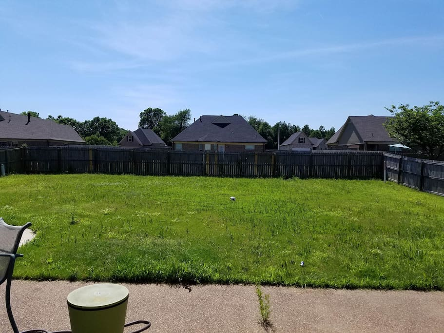 Very large back yard with doggie door accessible.