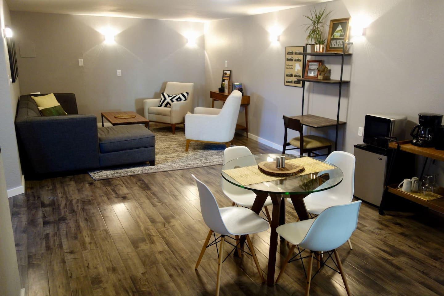 The private living room and dining space
