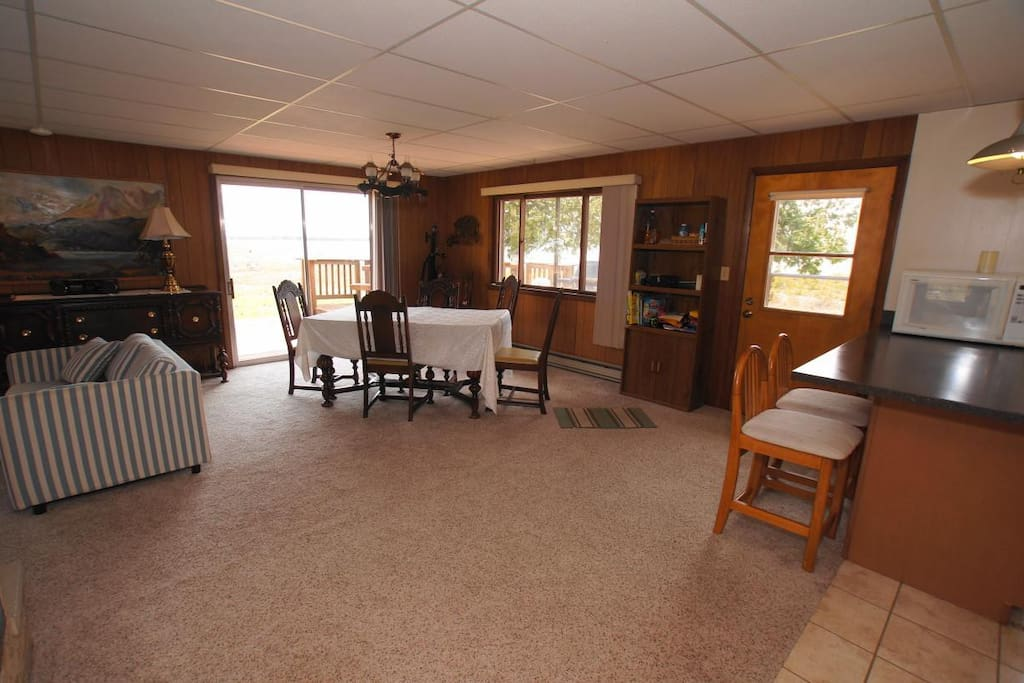 Open living room, dining room